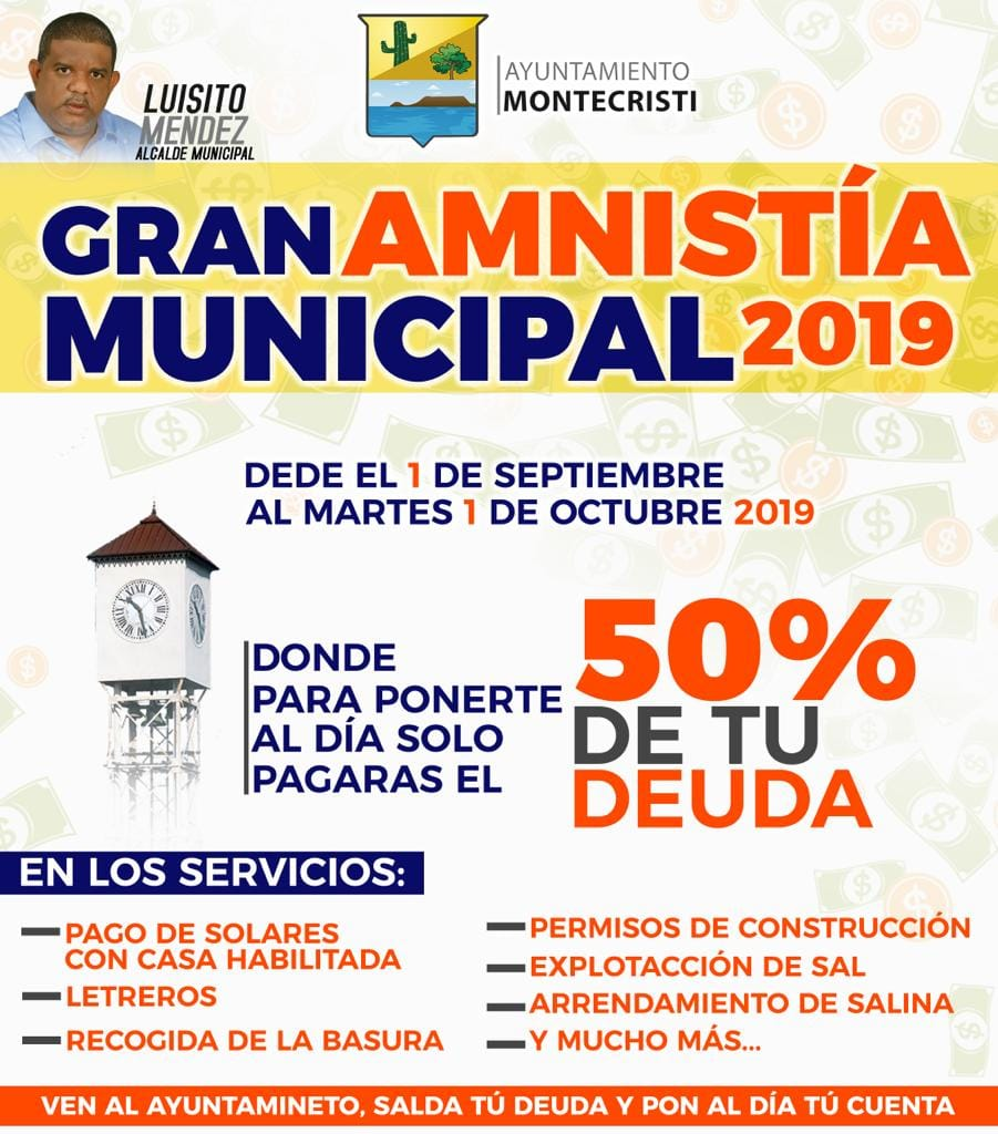 LA ALCALDIA DE MONTECRISTI A BENEFICIO DE LA MUNICIPALIDAD.